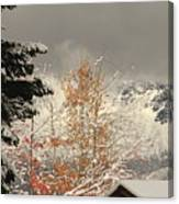 Autumn Leaves Winter Snow Canvas Print