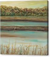 Autumn Marsh and Bird Canvas Print