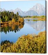 Autumn Morning At Oxbow Bend Canvas Print