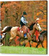 Autumn On Horseback Canvas Print