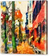 Autumn On The Streets Of Boston Canvas Print