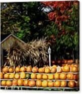 Autumn Pumpkins And Cornstalks Graphic Effect Canvas Print