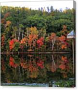 Autumn Reflections And Cabin On Baker Pond Canvas Print