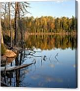 Autumn Reflections On Little Bass Lake Canvas Print