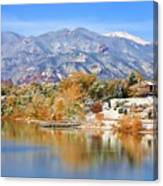 Autumn Snow At The Lake Canvas Print