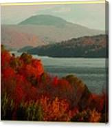 Autumn Trees Near A River H A With Decorative Ornate Printed Frame. Canvas Print