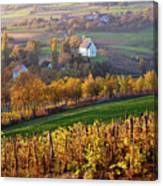 Autumn View Of Church On The Rural Hills Canvas Print