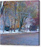 Autumn Winter Street Light Color Canvas Print