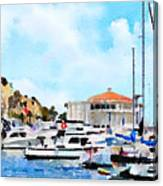 Avalon Casino Harbor, Catalina Canvas Print