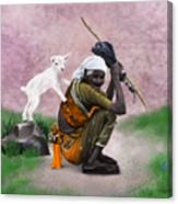 Awesome Village Woman Realistic Painting Canvas Print