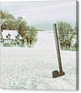 Axe In Snow Scene Canvas Print
