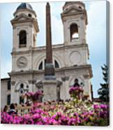 Azaleas On The Spanish Steps In Rome Canvas Print