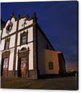Azorean Church At Night Canvas Print