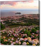 Azorean Town At Sunset Canvas Print