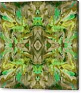 Aztec Kaleidoscope - Pattern 009 - Dark Olive Canvas Print