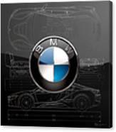 B M W  3 D  Badge Over B M W I8 Silver Blueprint On Black Special Edition Canvas Print