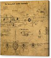 B29 Superfortress Military Plane World War Two Schematic Patent Drawing On Worn Distressed Canvas Canvas Print