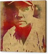Babe Ruth Baseball Player New York Yankees Vintage Watercolor Portrait On Worn Canvas Canvas Print