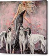 Babs with Three Borzois Canvas Print