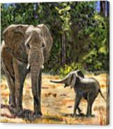 Baby And Mom Elephant Painting Canvas Print