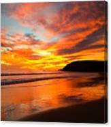 Baby Blue And Tangerine Sky Canvas Print