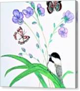 Baby Chickadee And Butterflies Canvas Print