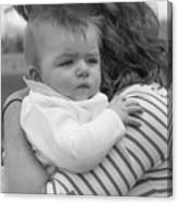 Baby Content On Mom's Shoulder Canvas Print