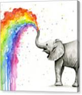 Baby Elephant Spraying Rainbow Canvas Print