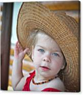 Baby Girl Wearing Straw Hat Canvas Print