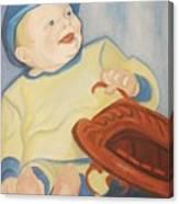Baby With Baseball Glove Canvas Print