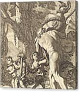 Bacchanal With Figures Carrying A Vase Canvas Print