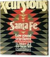 Back East Xcursions - Santa Fe, Mexico - Indian Detour - Retro Travel Poster - Vintage Poster Canvas Print
