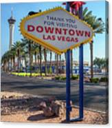 R.i.p. Back Of The Welcome To Downtown Las Vegas Sign Day Canvas Print