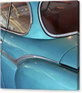 Back Side Of A Blue Vintage Car  Canvas Print