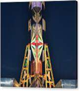 Back Side Of Ferris Wheel At Twilight Canvas Print