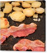 Bacon And Potatoes On A Griddle Canvas Print