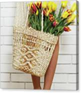 Bag With A Bouquet Of Tulips Canvas Print