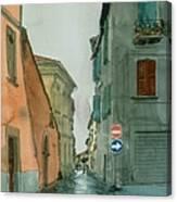 Bagnoregio Street In The Rain Canvas Print