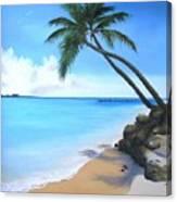 Bahamian Twin Palms Canvas Print