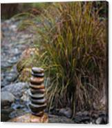 Balancing Zen Stones In Countryside River V Canvas Print