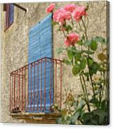 Balcony And Roses Canvas Print