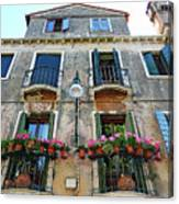 Balcony With Flowers In Venice, Italy Canvas Print