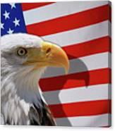 Bald Eagle And Us Flag Canvas Print