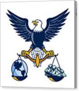 Bald Eagle Hold Scales Earth Money Retro Canvas Print
