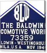 Baldwin Diesel Builders Plate Canvas Print