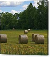 Bales In The Field Canvas Print