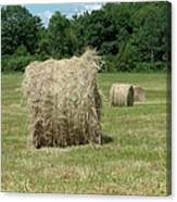 Bales Of Hay In New England Field Canvas Print