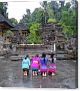 Bali Temple Women Bowing Canvas Print
