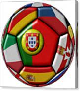 Ball With Flag Of Portugal In The Center Canvas Print
