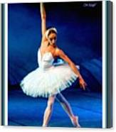 Ballerina On Stage L A With Decorative Ornate Printed Frame. Canvas Print
